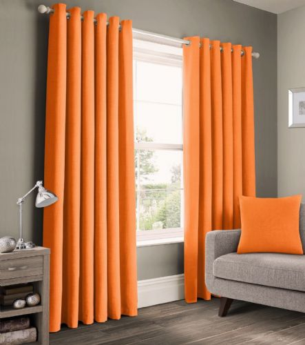 READY MADE PLAIN 100% COTTON MATERIAL UN-LINED RINGTOP EYELET PAIR OF CURTAINS ORANGE